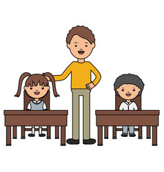 students couple sitting in schooldesk with male vector image