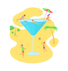 summer party people on beach vector image