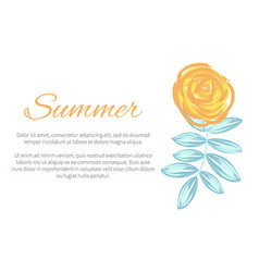 summer poster with drawn plant vector image