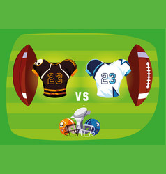 Super bowl helmets trophy and uniforms inside ball vector