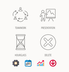 Teamwork presentation and hourglass icons vector