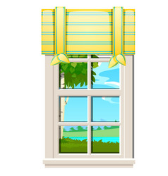 the window overlooking the meadow of green grass vector image