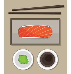 top view salmon sushi wasabi and sauce j vector image