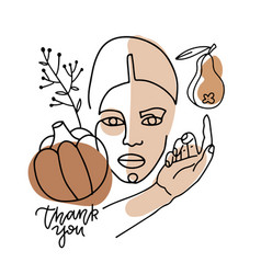 trend linear portrait a woman with harvest vector image