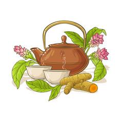 Turmeric tea in teapot vector
