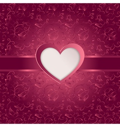 Valentines day card with paper heart vector image
