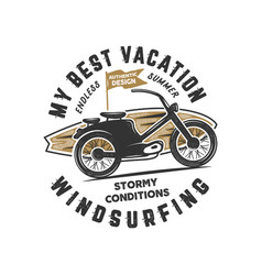 vintage hand drawn windsurfing surfing tee vector image