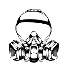 Vintage monochrome highly detailed respirator vector