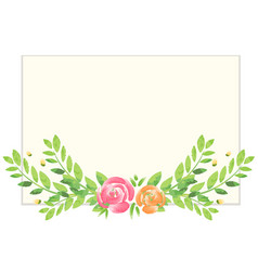 Watercolor background with roses and leaves vector