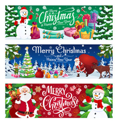 winter holiday snowman and santa with gifts vector image