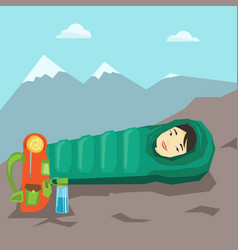 Woman sleeping in sleeping bag in the mountains vector