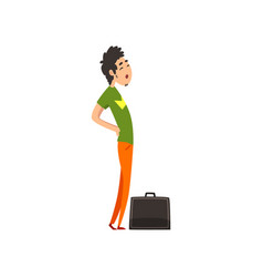young man with suitcase people traveling on vector image
