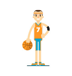 young smiling basketball player in flat design vector image