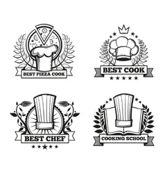 chef hat labels template for restaurant vector image vector image