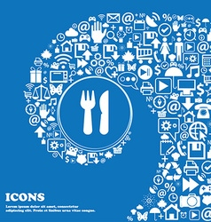 crossed fork over knife icon sign Nice set of vector image