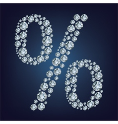 percent made from diamonds vector image