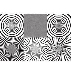 set of different psychedelic spiral vortex twirl vector image vector image