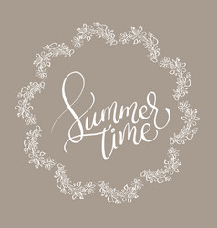 summer time text in vingage round frame on brown vector image vector image