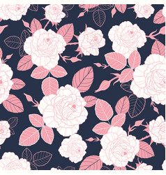 vintage pink and white roses and leaves on vector image vector image