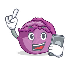 with phone red cabbage character cartoon vector image vector image
