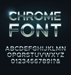 chrome metal font steel metallic alphabet vector image vector image