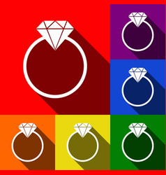 diamond sign set of icons vector image vector image