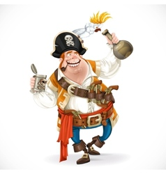 Drunken pirate with a bottle of rum and a parrot vector image vector image