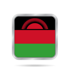 flag of malawi shiny metallic gray square button vector image vector image