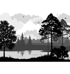 Landscape Trees River and Birds Silhouette vector image