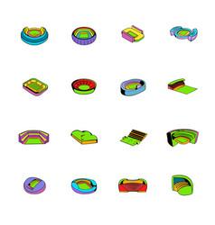 stadium set icons set cartoon vector image vector image