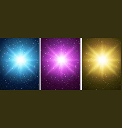 three backgrounds with bright lights vector image