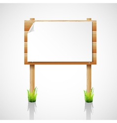 wooden notice board with grass vector image vector image