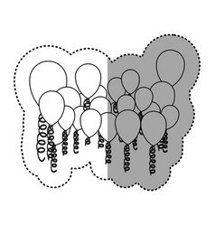 contour colored party balloon with serpentine icon vector image vector image