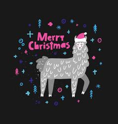 merry christmas lama vector image vector image