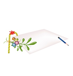 Mistletoe and candy cane on blank page vector