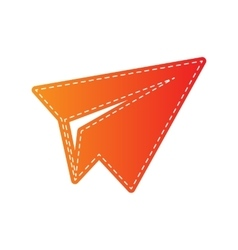 Paper airplane sign Orange applique isolated vector image vector image