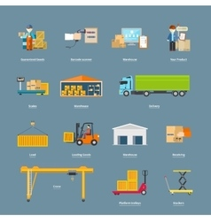 Set of Icons Transport Logistics Concept vector image vector image
