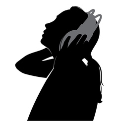 silhouette girl in headphones vector image vector image