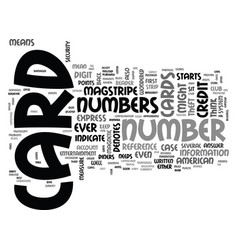 what do the numbers indicate on credit cards text vector image vector image
