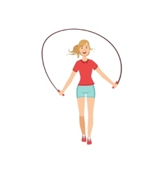 Woman Exercising With Skipping Rope vector image