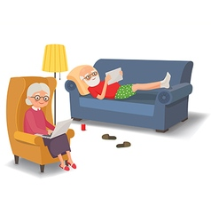 Elderly couple with gadgets vector image vector image