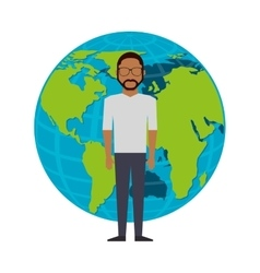 man avatar with planet earth icon vector image