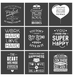 Set of vintage love typographic quotes vector image