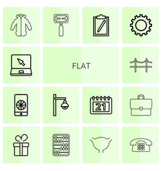 14 flat icons vector image