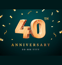 40th anniversary sign with falling confetti vector