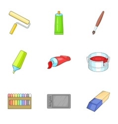 Art supplies icons set cartoon style vector