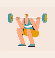 athlete lifting barbell sportsman is engaged in vector image