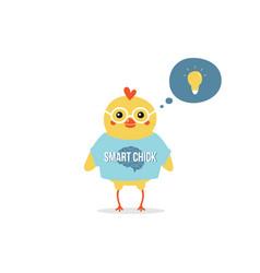 Baby chicken character has a bright idea vector