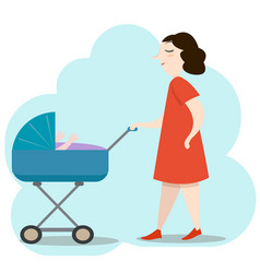 beautiful young mother in red dress walking with vector image