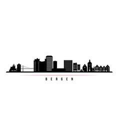 Bergen skyline horizontal banner black and white vector
